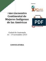 CONVOCATORIA 7mo Encuentro Continental de Mujeres Indígenas de las Américas
