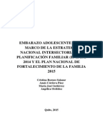 Sexualidad y Embarazo Adolescente en El Ecuador. de La ENIPLA Al Plan Familia 2015