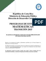 Plan Transicion 2015 Matematica