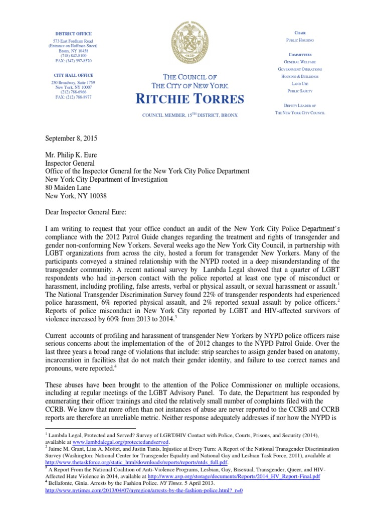 ... Array - letter to ig eure re nypd trans compliance lgbt lgbtq rights rh  es scribd Array - patrol guide ...