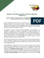 Manifiesto Cabildo Nacional Cultura