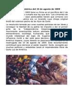 Reseña Histórica Del 10 de Agosto de 1809
