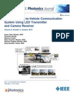 Optical communication System V2V, using LED transmission and Camera reception