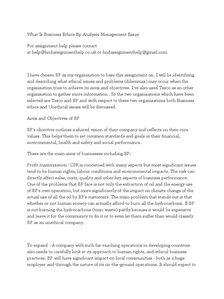 What is Business Ethics Bp Analysis Management Essay | Bp ...
