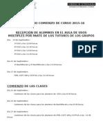 Calendario Comienzo de Curso 2015