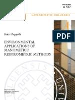 ENNVIRONMENTAL  APPLICATIONS OF  MANOMETRIC  RESPIROMETRIC METHODs