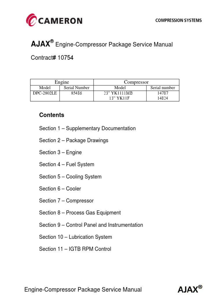 cameron ajax package service manual piston valve rh scribd com Ajax Natural Gas Compressor Ajax Engine