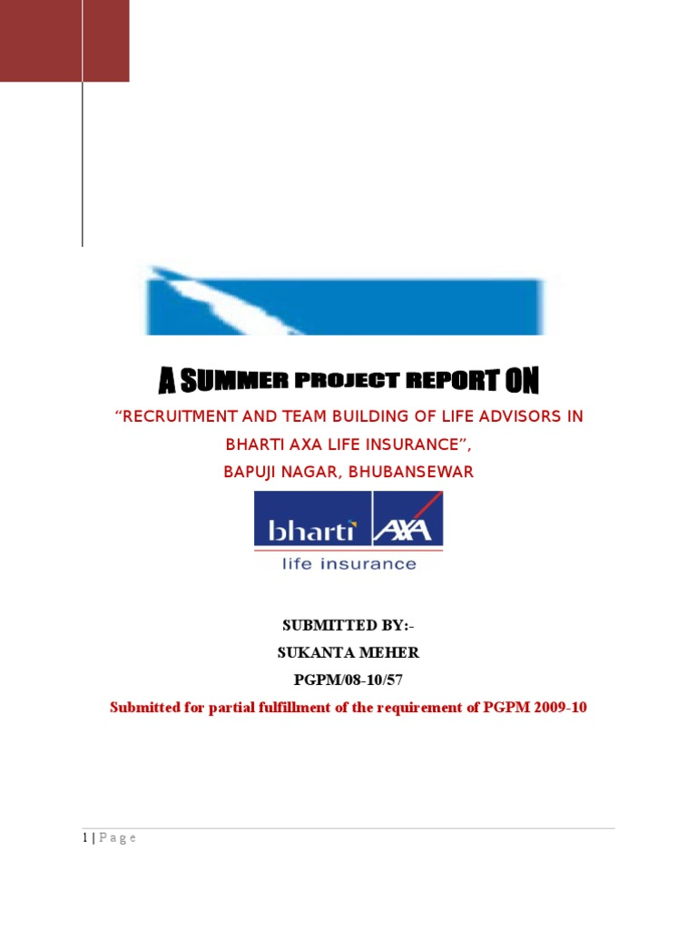 Recruitment And Team Building Of Life Advisors In Bharti Axa Life Insurance  | Risk | Insurance