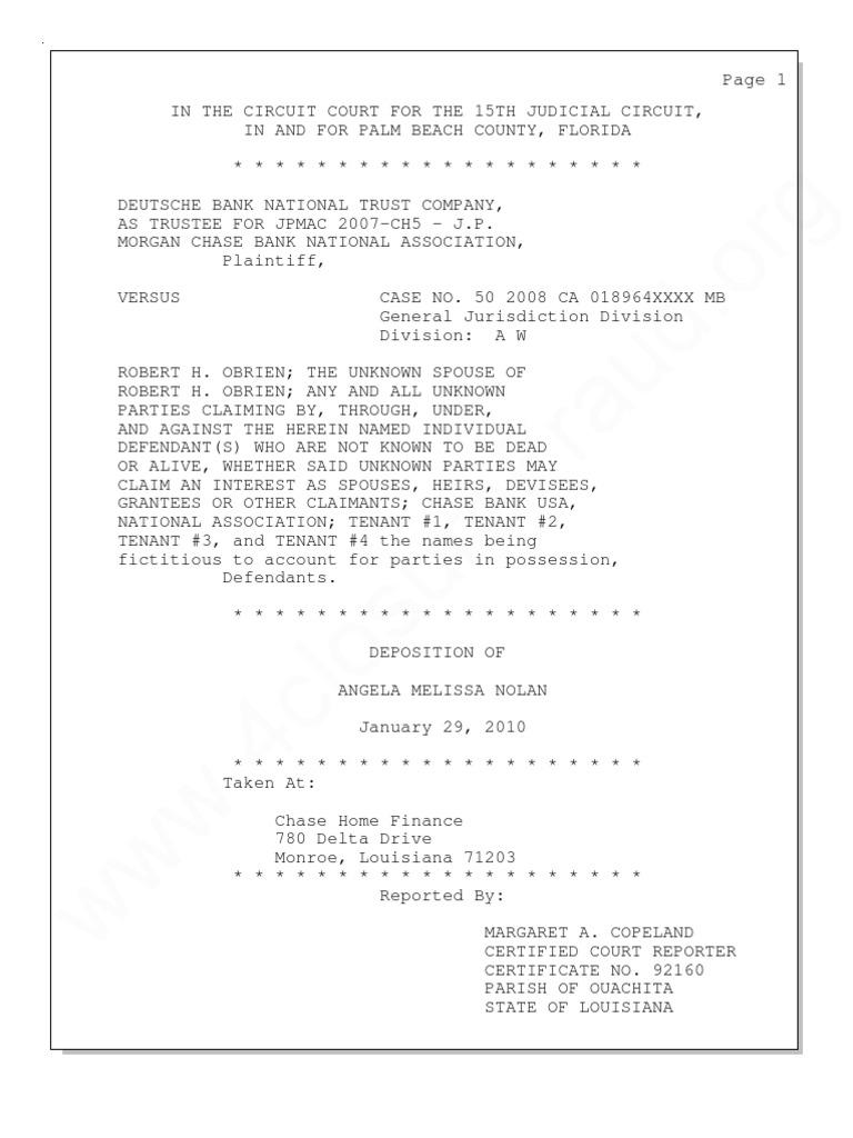 Full Deposition Of Angela Nolan Robo Signer At Chase Home Finance