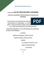 TESIS 2011Aplicación de un Programa de Inteligencia Emocional para mejorar el aprendizaje y la convivencia en los niños y niñas de tercer grado de educación primaria de la Institución Educativa San José de Piura