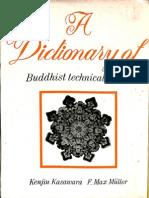 A Dictionary of Buddhist Technical Terms - Kenjiu Kasawara F. Max Muller