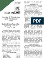 Nebraska Athletics 1914-15 finances