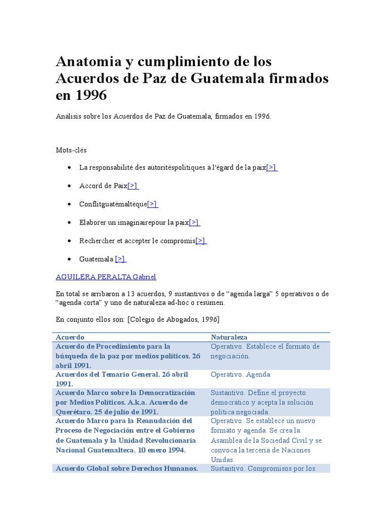 Dicivison de Acuerdos de PAz Operativos y Sustantivos
