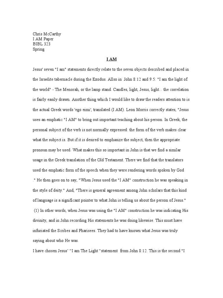 chris mccarthy i am paper bibl 323 the exodus book of exodus academic goals essay example - I Am Essay Examples