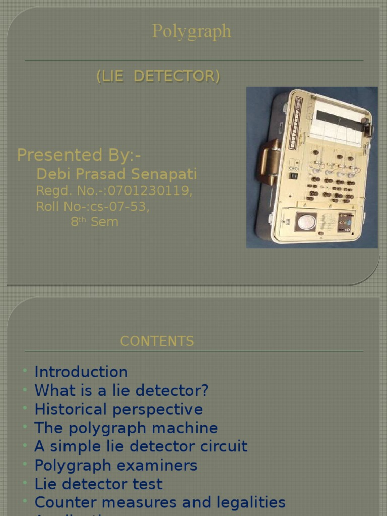 Debi Seminar Polygraph Electrical Resistance And Conductance Lie Detector Circuit
