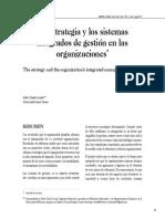 La Estrategia y Los Sistemas Integrados de Gestión en La Organizaciones