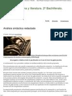Análisis Sintáctico Redactado _ Lengua Castellana y Literatura. 2º Bachillerato.