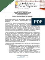 Compte Rendu Du Conseil Des Ministres Du Mercredi 9 Septembre 2015