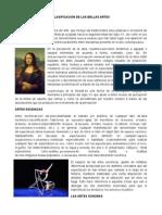 Clasificacion de Las Bellas Artes
