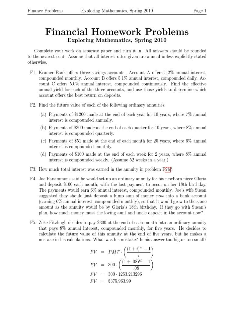 Pay for finance homework