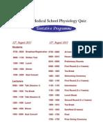 Tentative Quiz Programme