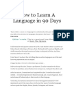 How to Learn a Language in 90 Days