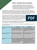 Accounting Methods Cash Basis and Accrual Basis
