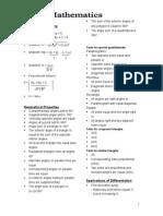 Maths Notes Summary