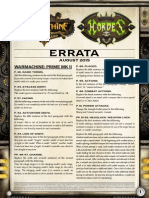 Warmachine MKII Rules Errata Aug 2015