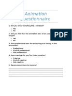 animation questionnaire