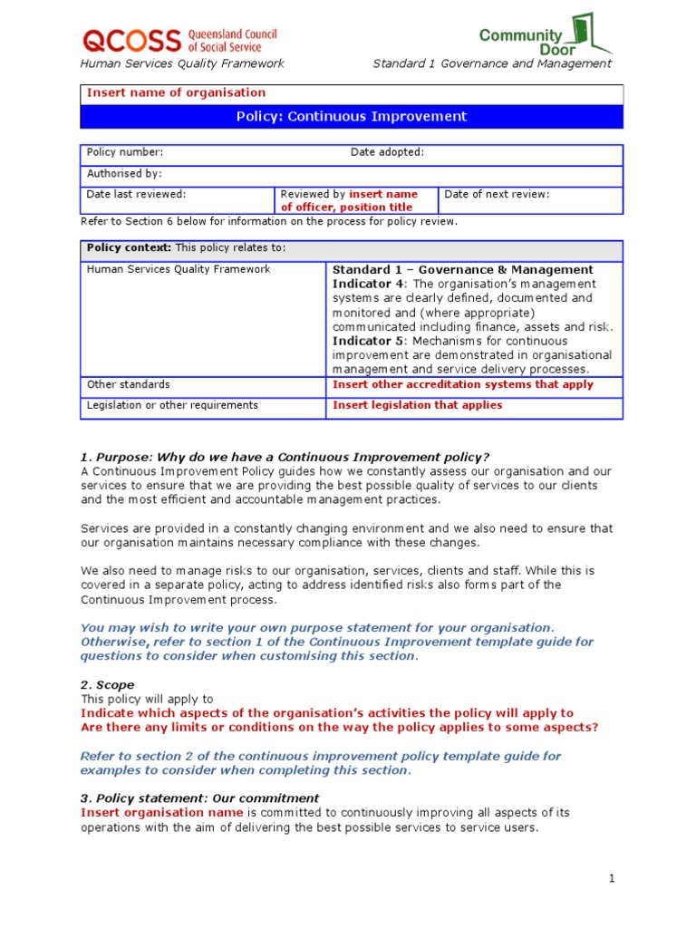 115 continuous improvement policy template policy governance