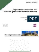 Molecular Dynamics Simulation for Reaction Generated Diffusio-osmosis
