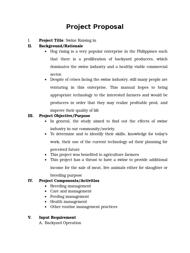 Project Proposal Swine Raising Pig – Project Proposal Example