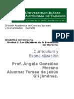 Preguntas y Concepto de Currículum y Especializacion Tema 8