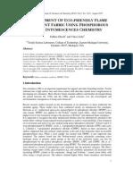 DEVELOPMENT OF ECO-FRIENDLY FLAME RETARDANT FABRIC USING PHOSPHOROUS BASED INTUMESCENCES CHEMISTRY