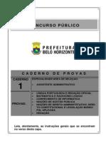 Caderno 1 Assistente Administrativo pbh