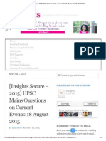 [Insights Secure – 2015] UPSC Mains Questions on Current Events_ 18 August 2015 - InSIGHTS