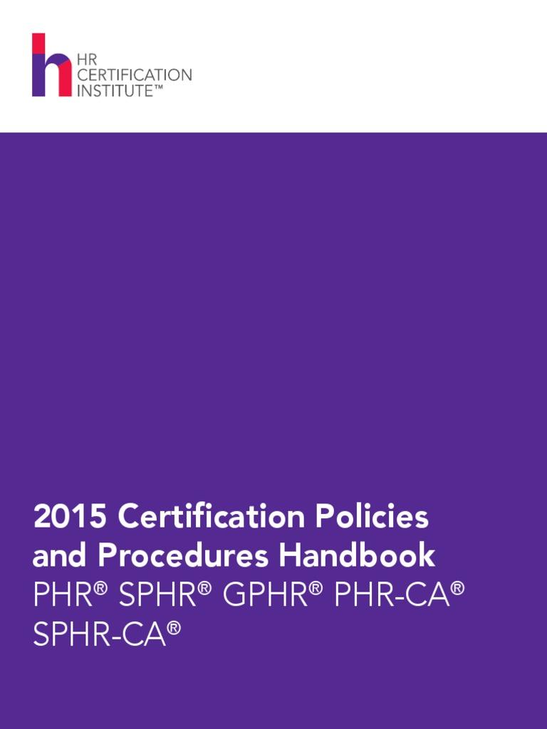 2015 Certification Handbook Pdf Human Resource Management