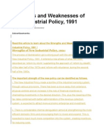 Strengths and Weaknesses of New Industrial Policy
