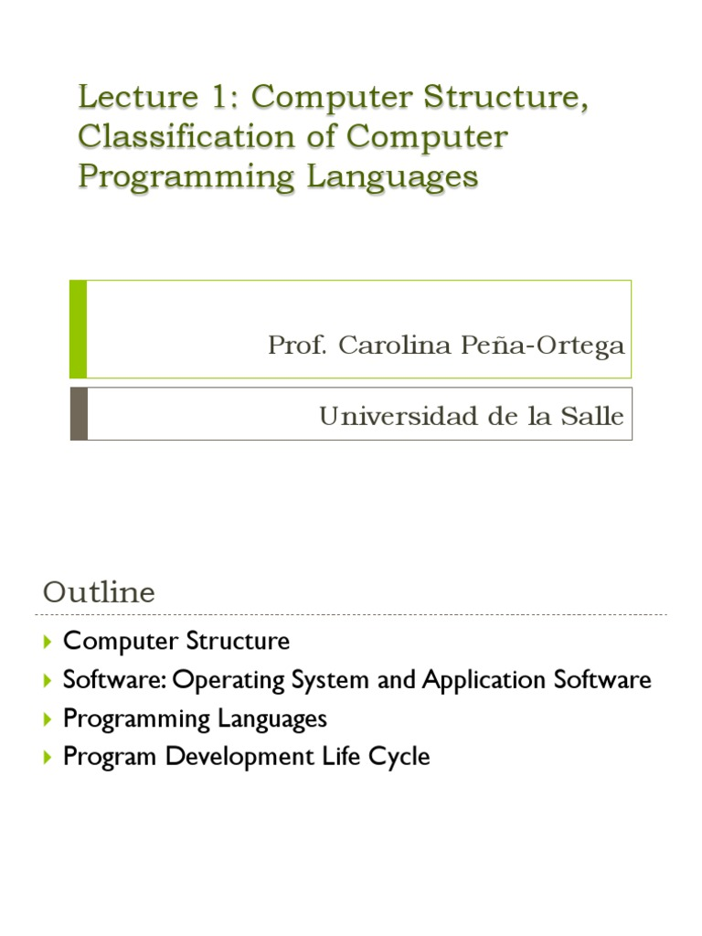 Classification of programming languages and their development 54
