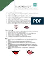 questions regarding speech referrals