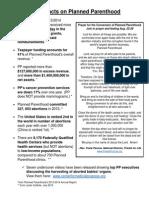 Planned Parenthood Fact Sheet and Prayer