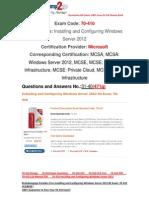 [100% PASS] Braindump2go Latest 70-410 PDF Free 31-40