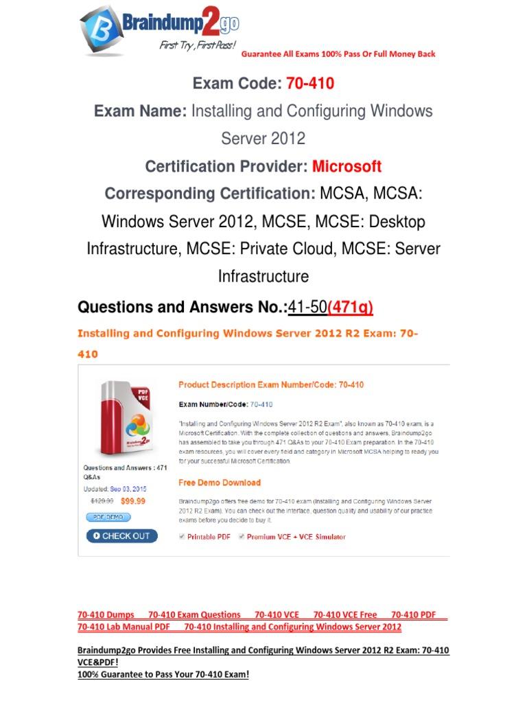 Braindump2go 70 410 Installing And Configuring Windows Server