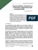 El nuevo contrato de leasing inmobiliario, limitaciones a la voluntad contractual y desprotección del  contratante débil