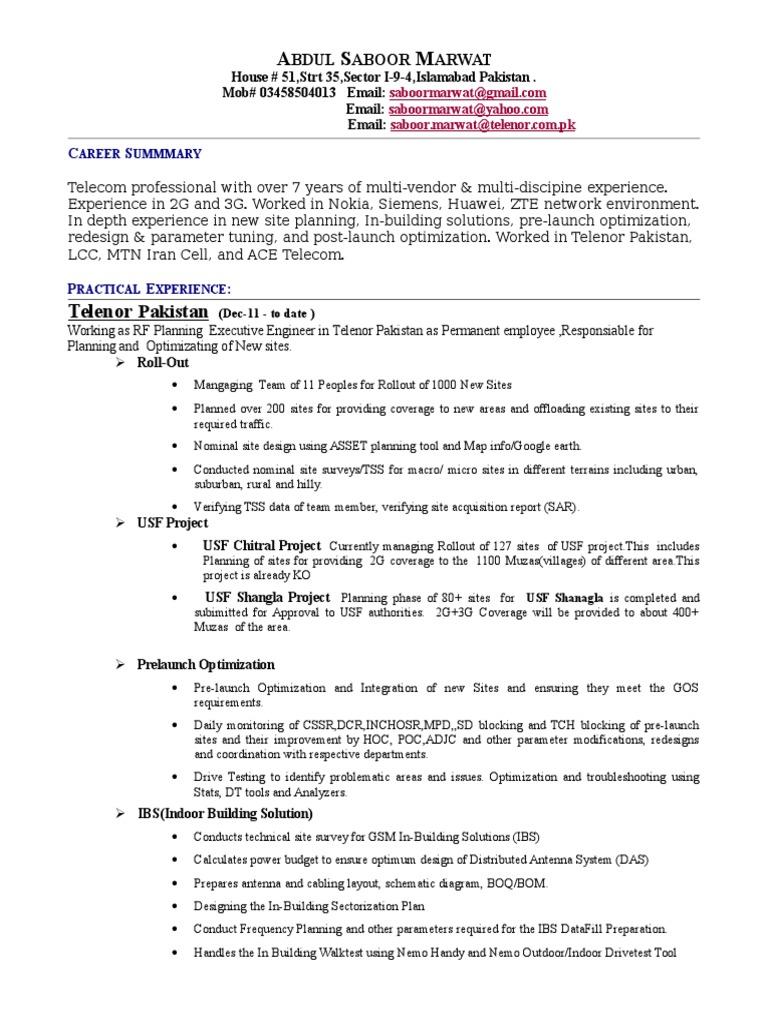 CVAbdul Saboor MarwatTelenor Digital Social Media – Siemens Site Planning