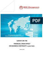 SURVEY ON THE FINANCIAL CRISIS EFFECT ON BUSINESS CONTINUITY a year later.
