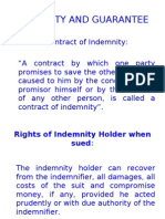 Indemnity, Bailment, Agency