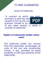 Indemnity, Bailment, Agency