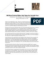 2014 old west festival news release